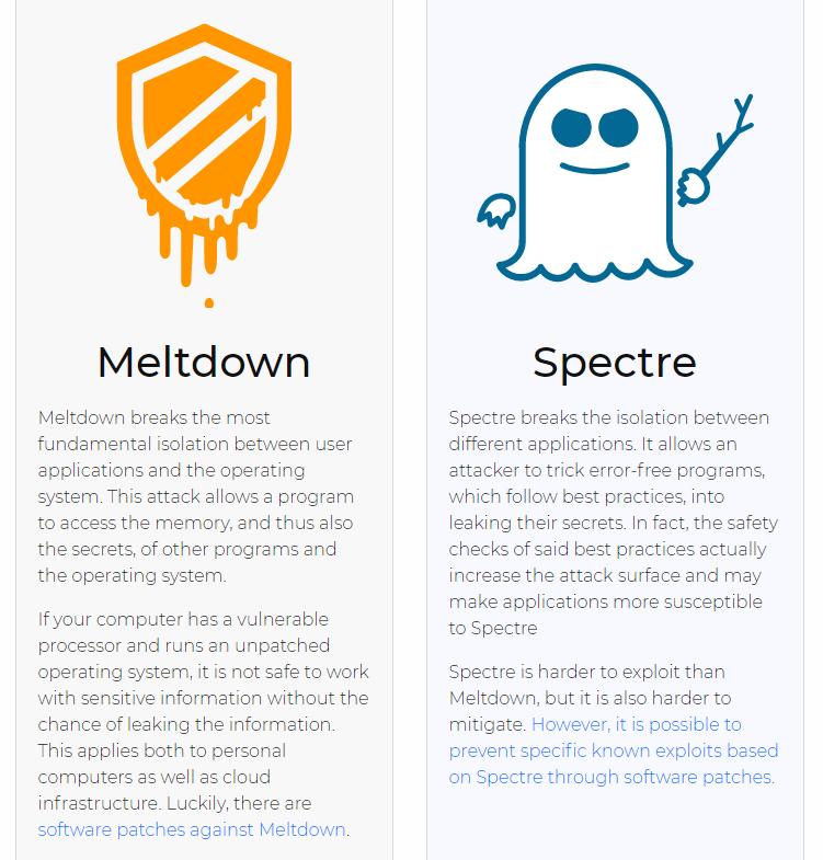 Meltdown and Spectre, courtesy of https://meltdownattack.com/