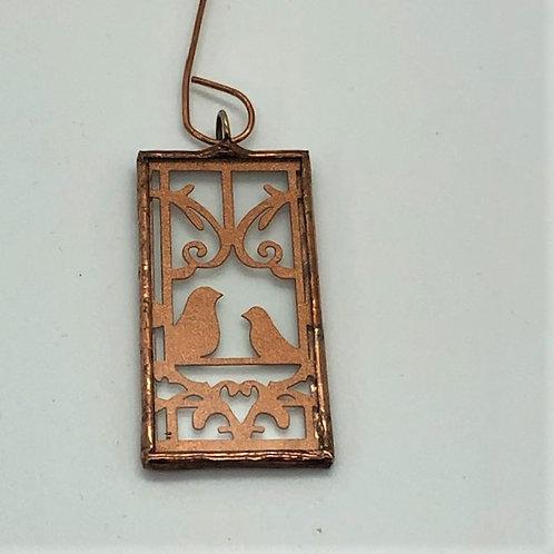 Filigree Copper Birds ornament