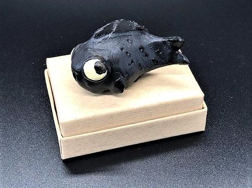 "Mini ""frishie"" (fish w/legs) painted clay figurine"