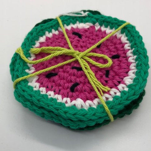 Crocheted Watermelon Coasters: set of 4