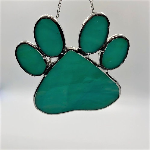 Teal Green Stained Glass Dog Paw