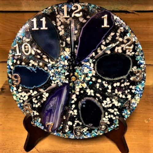 "Stunning 9"" Round Agate Slice Clock Blues/Purples"
