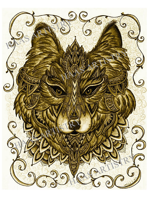 """Ceremonial Wolf in Gold 8x10"""" Print from colored pencil"""