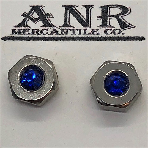 Hex Nut Stainless Post Earring Blue