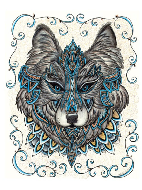 """Piercing Ceremonial Wolf 8x10"""" colored pencil print"""