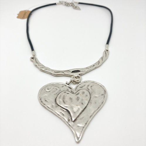 """Bold Hammered Silver Heart Necklace - Neck 18"""""""