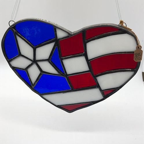 Stained Glass Red/White & Blue Heart
