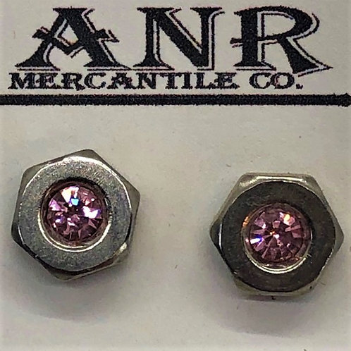 Hex Nut Stainless Post Earrings Pink