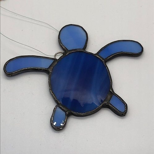 Blue Stained Glass Sea Turtle