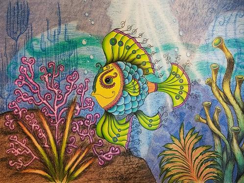 """Adventurous Bubble Fish 8x10"""" Colored Pencil Print"""
