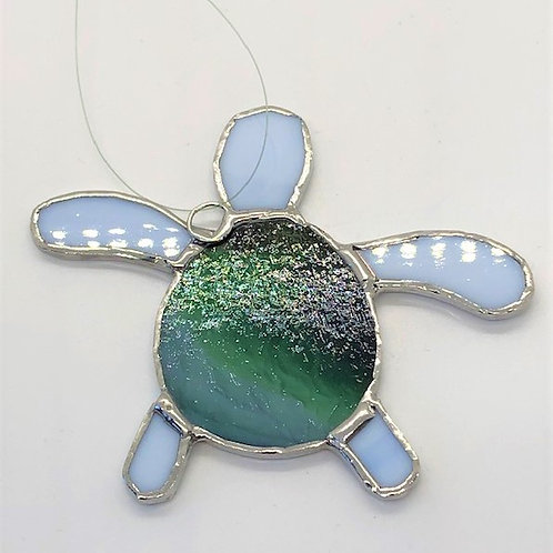 Green and White Stained Glass Sea Turtle
