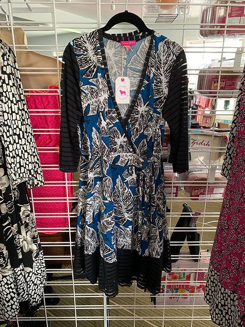 Bianca's Wrap Dress in Blue/sheer edging