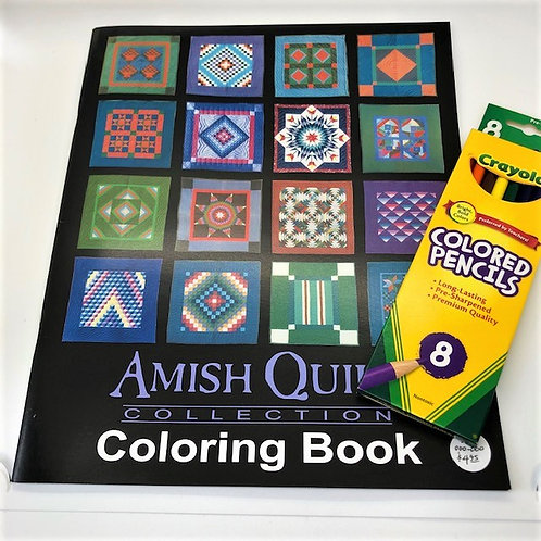 Amish Quilt Coloring Book w/colored pencils