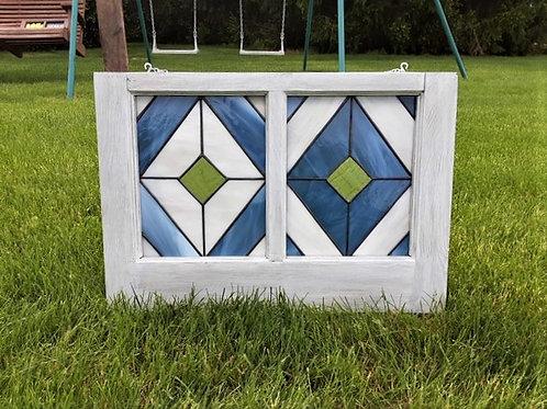 """Geometric Stained Glass Window 14 1/2""""h x 21""""w"""