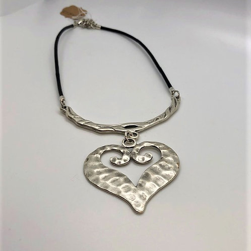 """Fun Hammered Silver Heart Necklace w/16"""" cord"""
