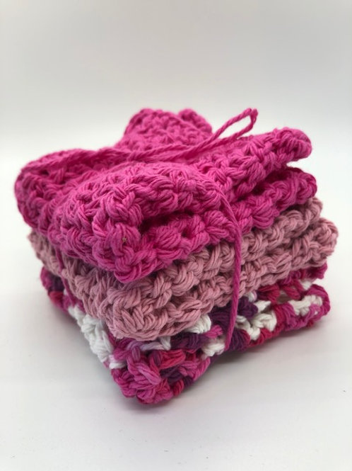Crocheted Pink Washcloths: set of3