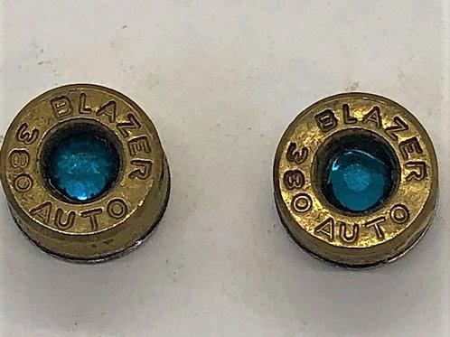 Bullet Casing Brass Post Earrings Teal