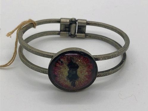 Dragon's Eye Clasp Cuff - Handpainted / Silver cuff
