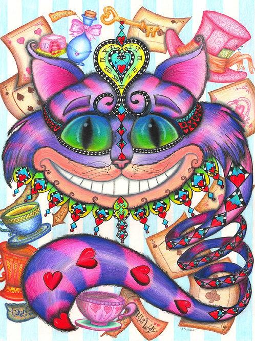 "Cheshire Cat Colored Pencil Print 8x10"""