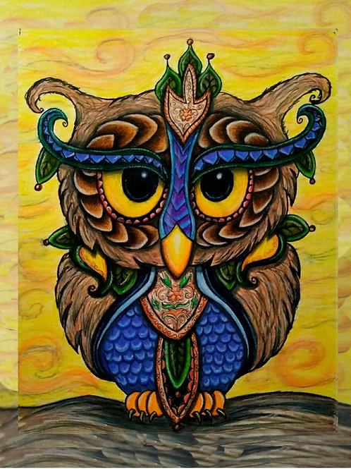 """Colorful Wise Owl Colored Pencil 8x10""""Print"""