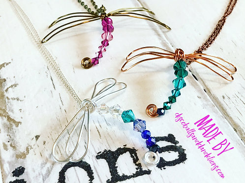 Wire Wrap Swarovski Crystal Elements Dragonfly  Pendant