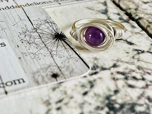Amethyst Wire Wrap Handmade Ring