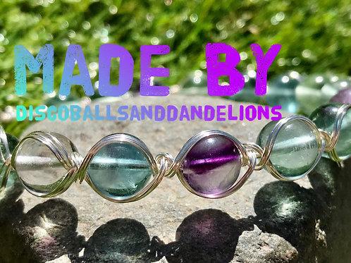 Rainbow Fluorite Natural Gemstone Braid Wire Wrap Bracelet