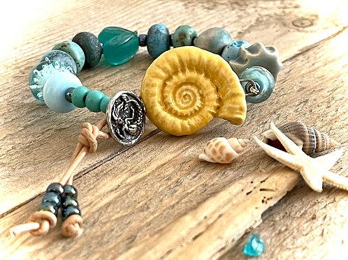Luxury Ammonite Design Handmade Bracelet