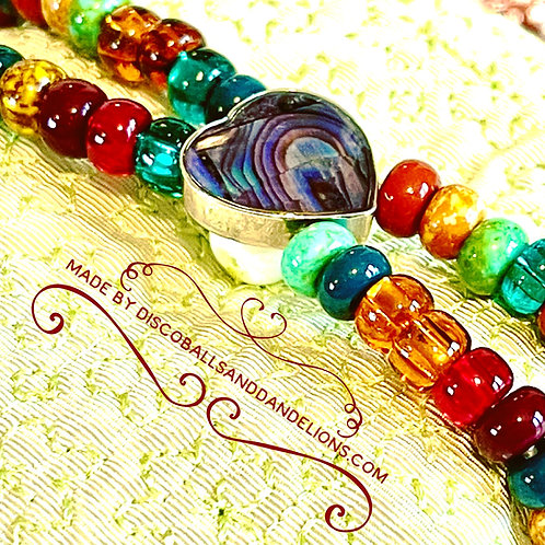 Artisan Abalone Shell Heart Toggle Bracelet