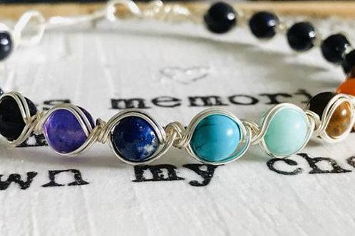 Chakra Rainbow Natural Gemstone Bracelet