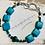 Thumbnail: Turquoise & Malachite Sterling Silver Bracelet