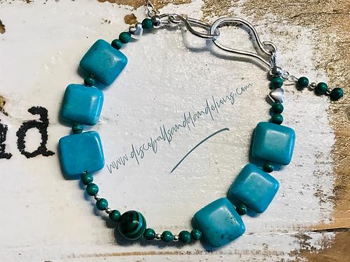 Turquoise & Malachite Sterling Silver Bracelet