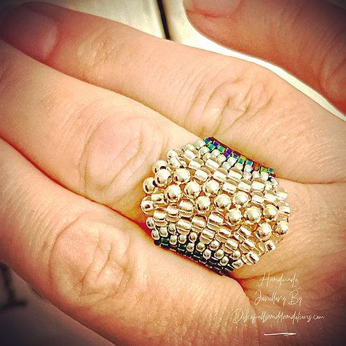 Sterling Silver Bead Artisan Boho Handmade Seed Bead Ring