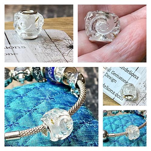 Dandelion Wish Swirl/Wave European Handmade Resin Bead