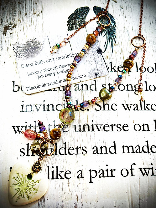 Beautiful Handmade Dandelion Heart & Natural Gemstone Pendant