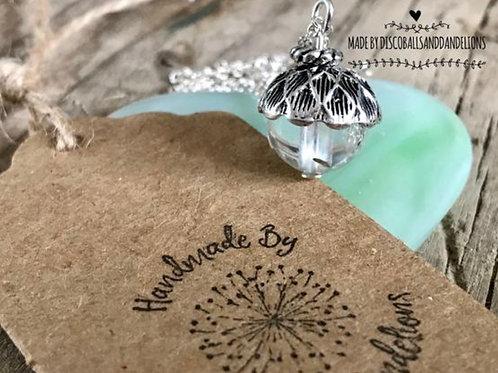 Tiny Little Dandelion Wish Acorn Pendant