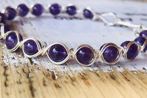 Silver Wire Wrap Amethyst Natural Gemstone Bangle