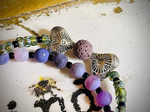 Aromatherapy Toggle Purple Hearts Bracelet