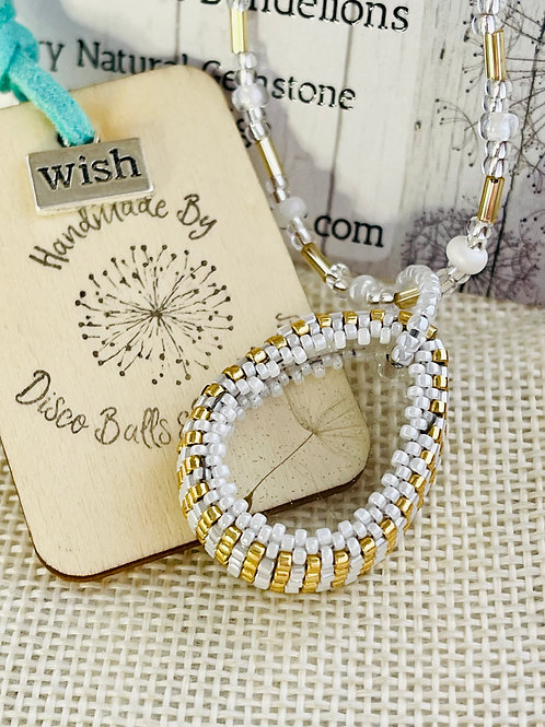 Dandelion Wish Beaded Pendant And Chain
