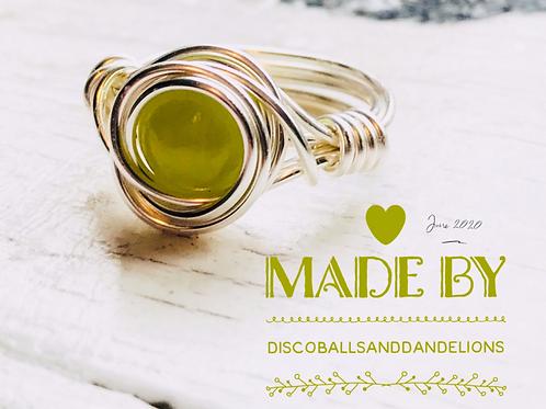 Peridot Wire Wrap Handmade Ring