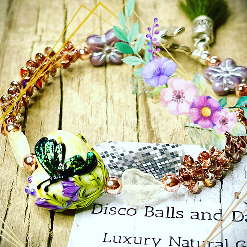 Artisan Butterfly Garden Bead Bracelet