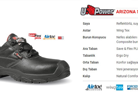 U Power Arizona S3 SRC UK İtalyan İş Güvenliği Ayakkabısı