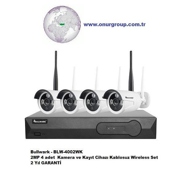 Bullwark - BLW-4002WK 2MP 4 Kamera ve Kayıt Cihazı Kablosuz Wireless Set