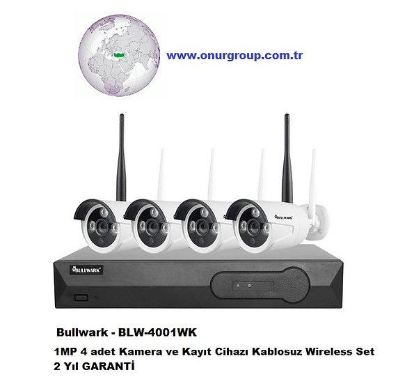 Bullwark - BLW-4001WK 1MP 4 Kamera ve Kayıt Cihazı Kablosuz Wireless Set