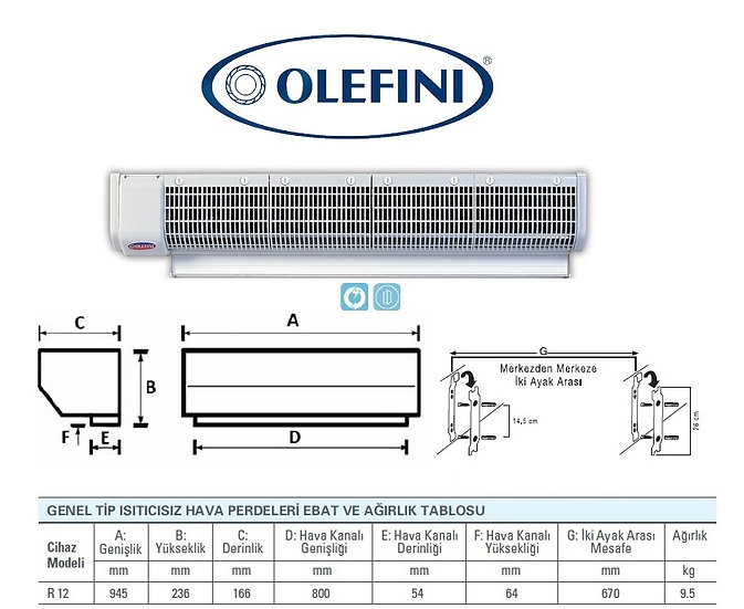 Olefini R-12 Genel Tip Hava Perdesi