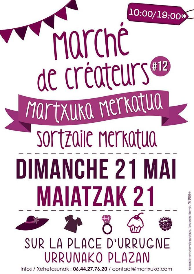 Je serai au Marché de créateurs MARTXUKA à Urrugne, le 21 mai 2017