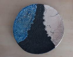 petit plat raku bleu noir blanc