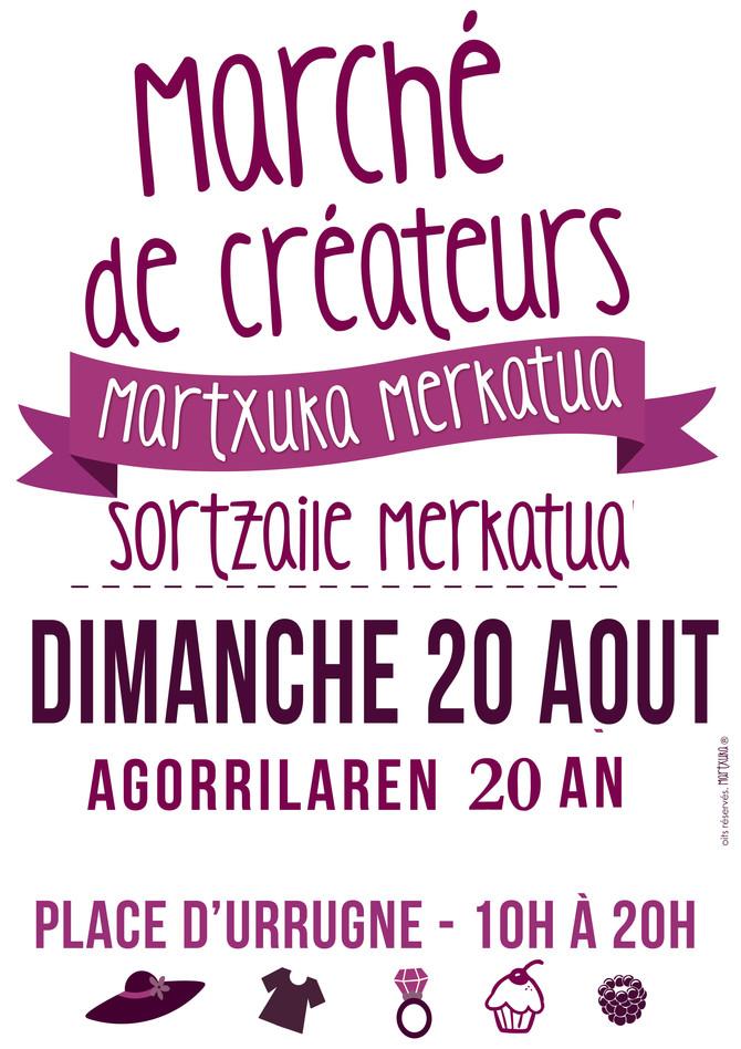 Une belle journée se prépare le 20 août à Urrugne : un beau marché de créateurs où je serai toute la