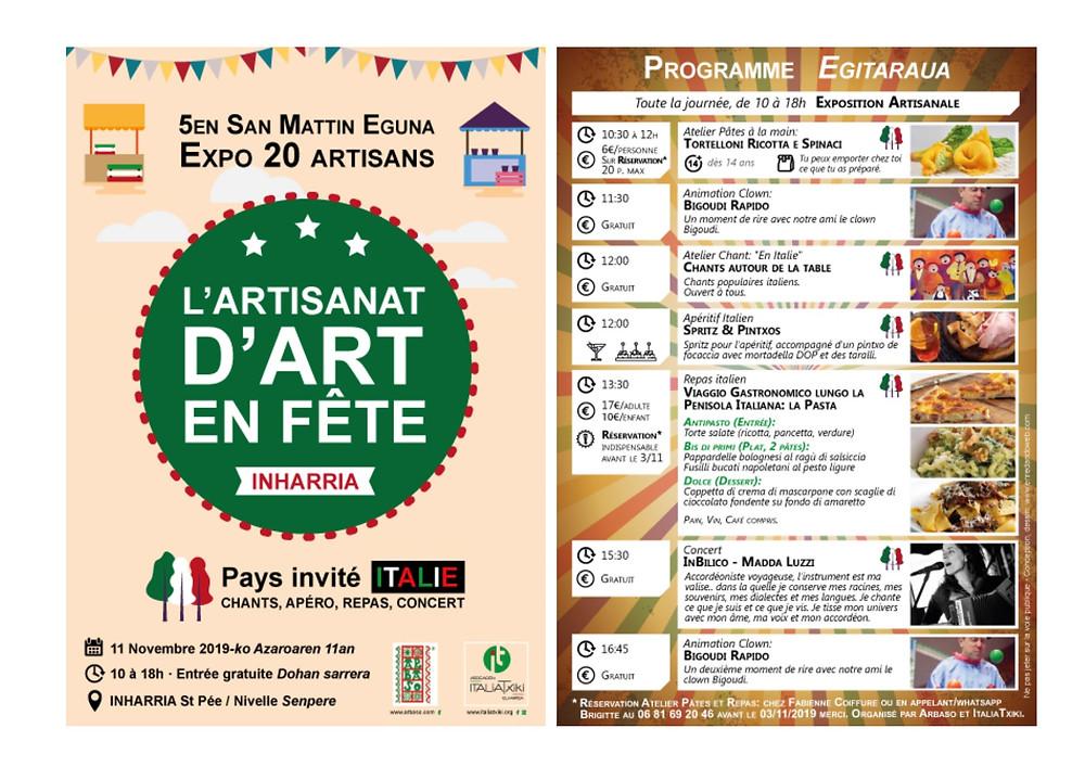 De 10h à 18h, artisanat en fête avec l'Italie. Repas et concert