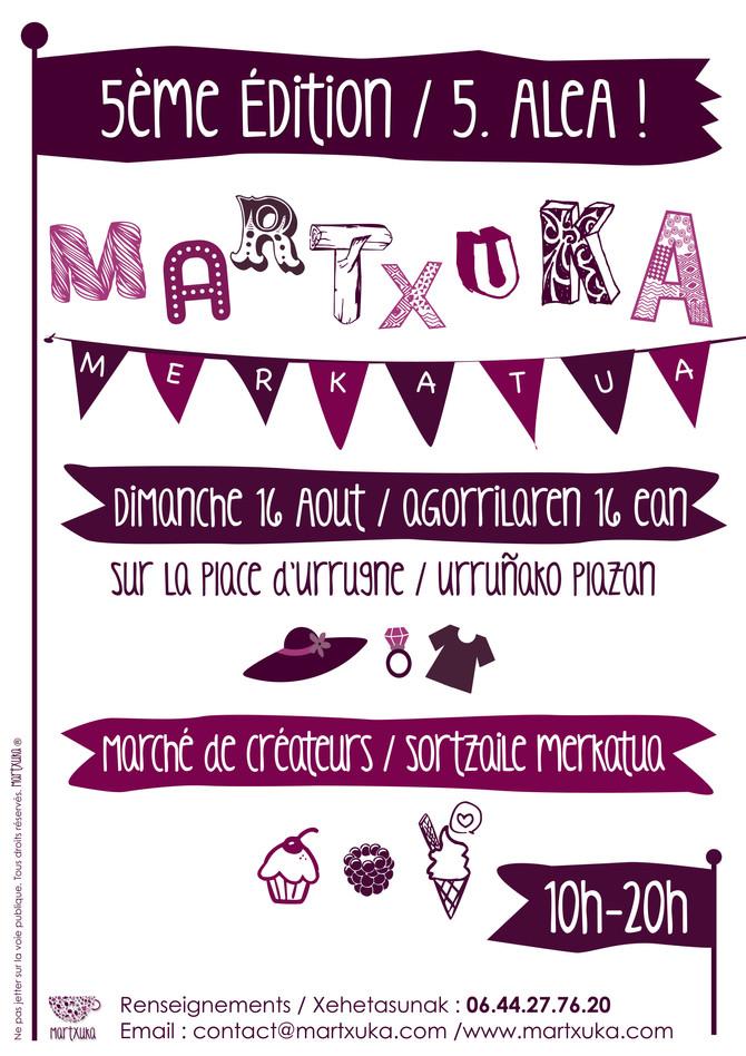 Je serai au marché de créateurs le 16 août à Urrugne !